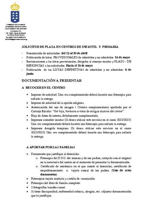 Instrucciones solicitud de plaza