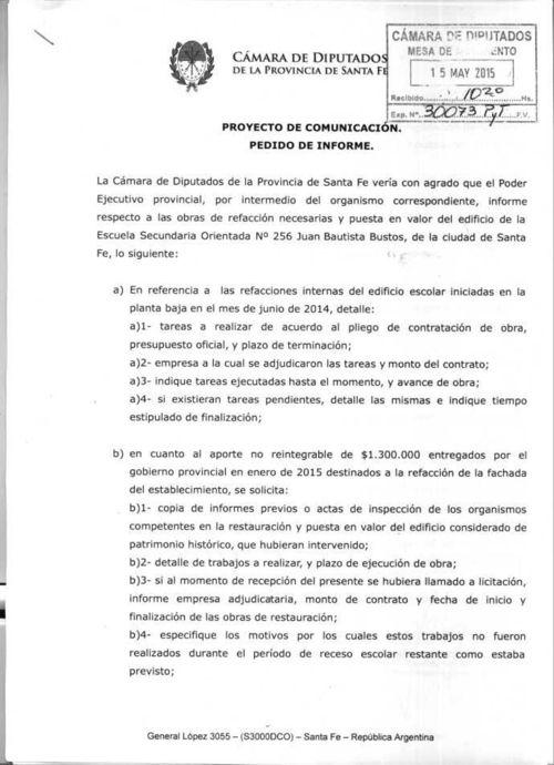 Diputado Avelino Lago - Situación Edilicia de la Escuela Bustos