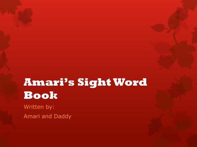 Amari's Sight Word Book
