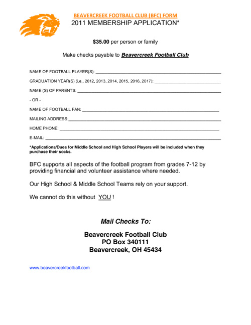 Football Forms