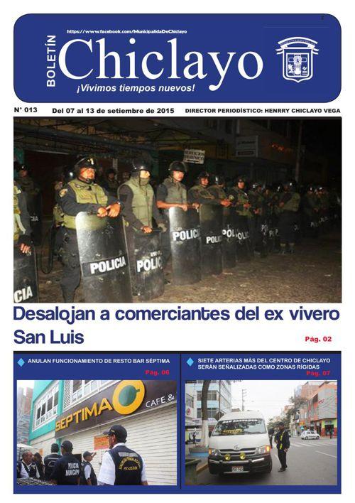 """Boletín """"Chiclayo"""" - N° 013"""