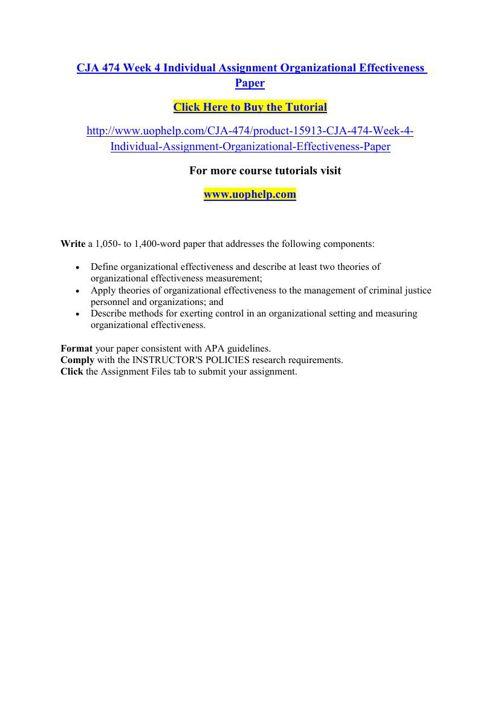 CJA 474 Week 4 Individual Assignment Organizational Effectivenes