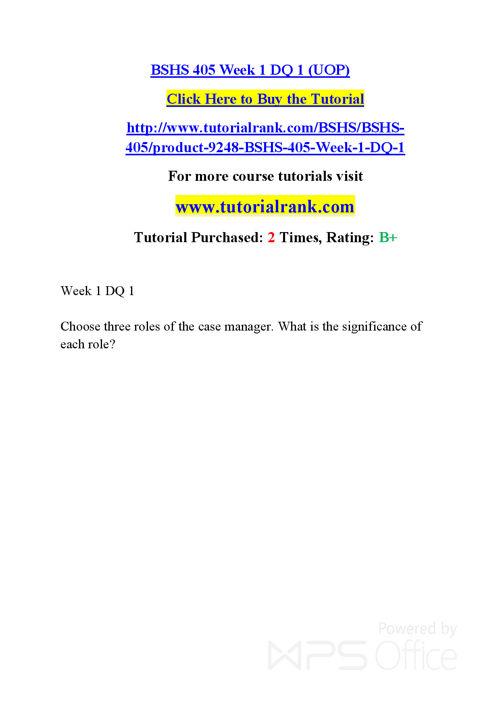 BSHS 405  Course Success Begins / tutorialrank.com