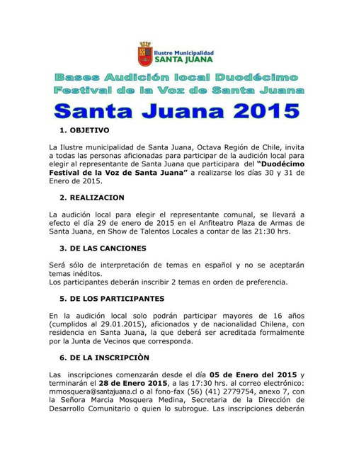 Bases Audición Local XII Festival de la Voz de Santa Juana