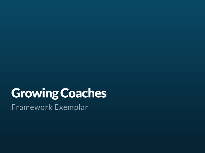 Growing Coaches Framework for Avondale College Sports Academy