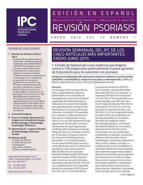 IPC's Revisíon Psoriasis - Enero 2016
