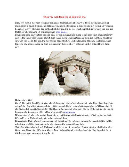Chọn váy cưới dành cho cô dâu tròn trịa