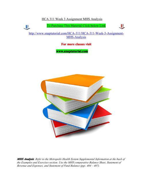 HCA 311 Week 3 Assignment MHS Analysis