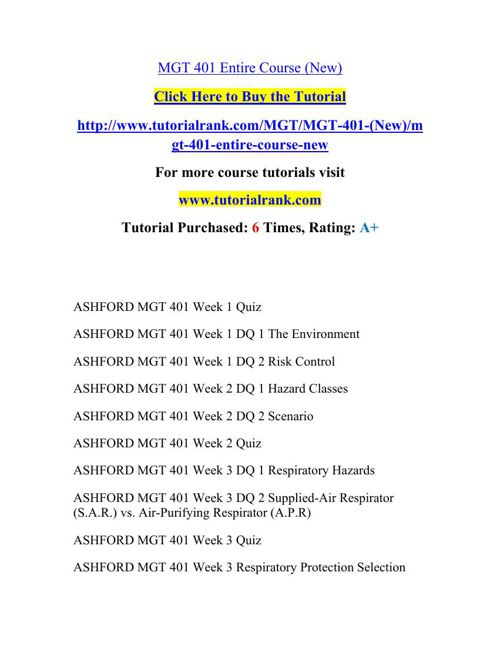 MGT 401 Academic Professor / tutorialrank.com