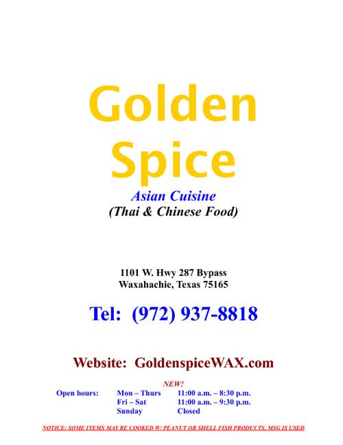 Golden Spice Menu