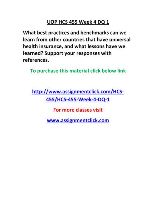 UOP HCS 455 Week 4 DQ 1