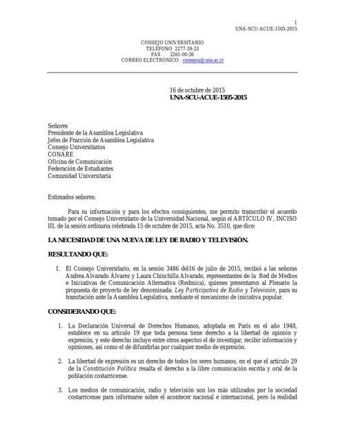 Ley radio y televisión- CU-FEUNA