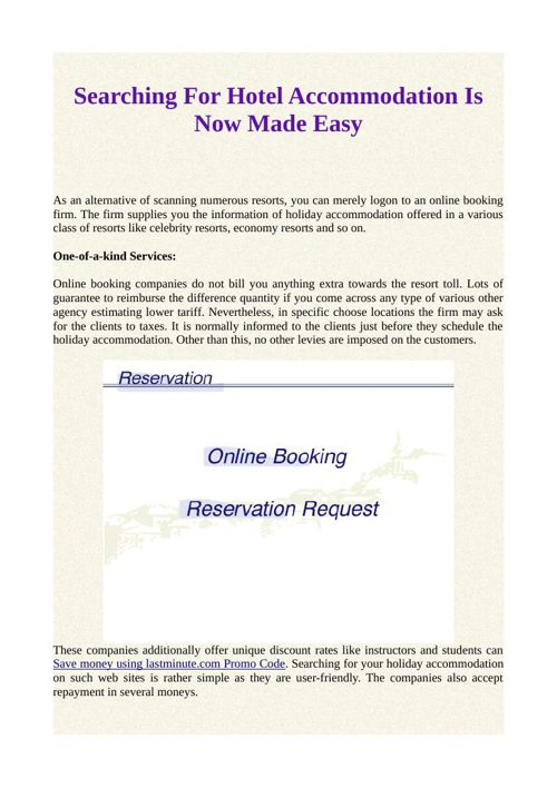 Searching For Hotel Accommodation Is Now Made Easy