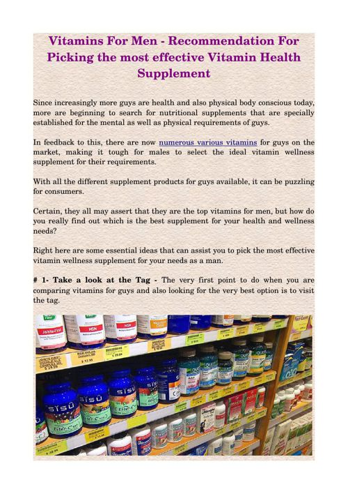 Vitamins For Men - Recommendation For Picking the most effective