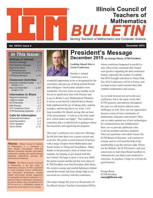 ICTM December 2015 Bulletin