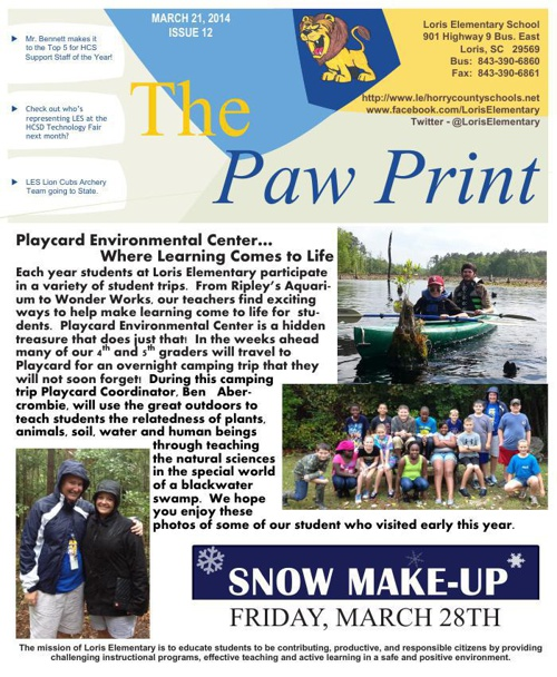 3-21-14 Issue XII The Paw Print