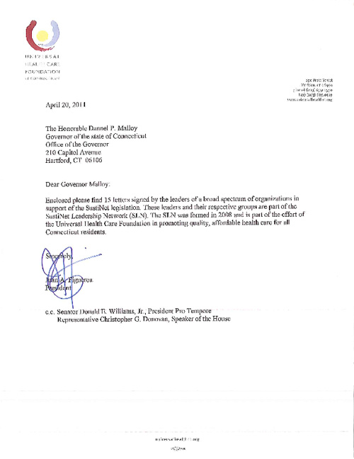 SustiNet letters to Gov. Malloy