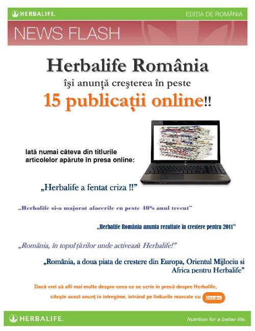 Herbalife sfideaza criza din Romania