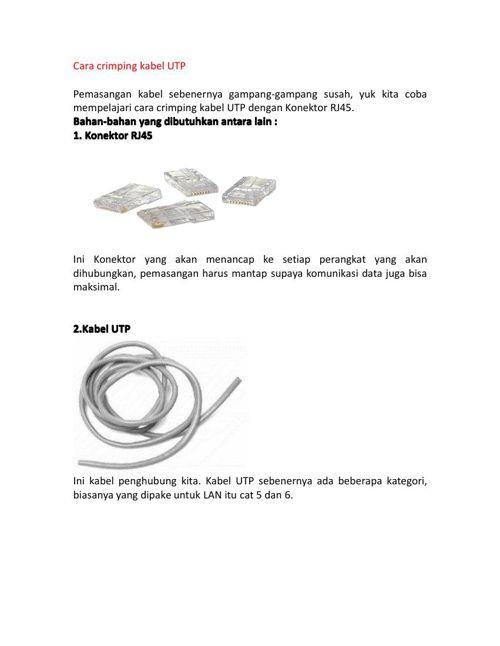 Cara crimping kabel UTP