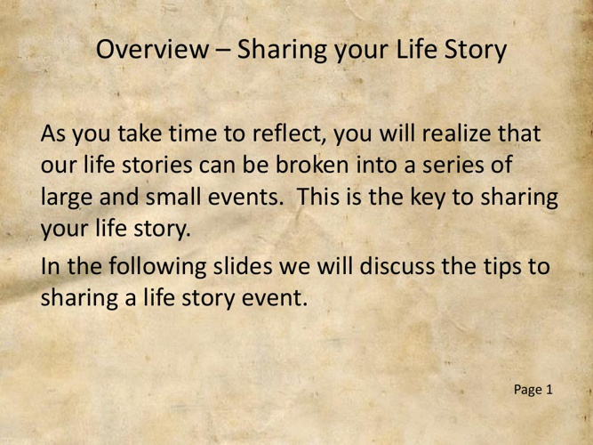 5 Steps to Sharing your Life Story