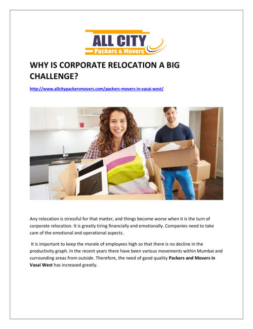 Why is corporate relocation become easy with All City Packer