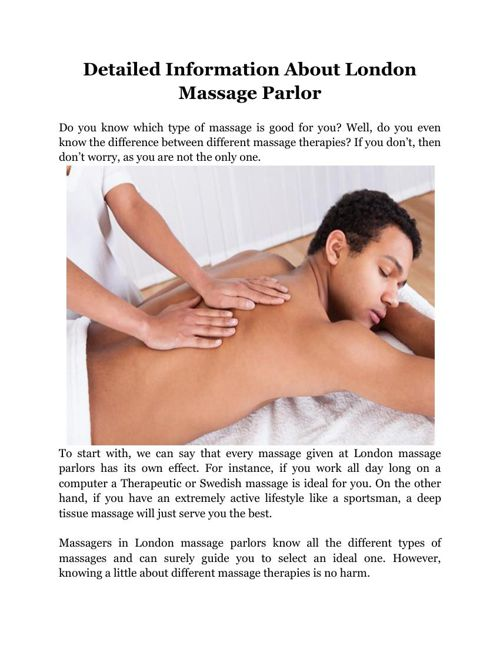 Detailed Information About London Massage Parlor