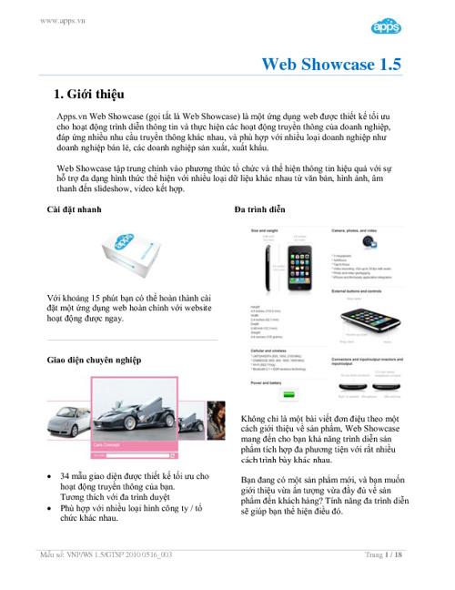 Giới thiệu Web Showcase 1.5
