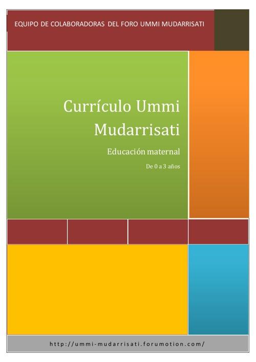 Currículo Ummi Mudarrisati. Educación Maternal (0-3 años)