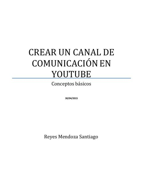 Manual Canal Youtube