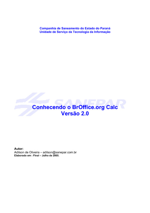 Conhecendo o BrOffice.org Calc Versão 2.0