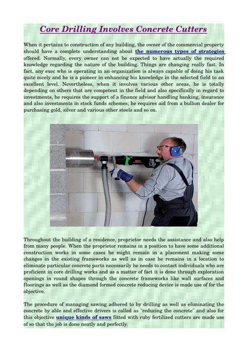 Core Drilling Involves Concrete Cutters
