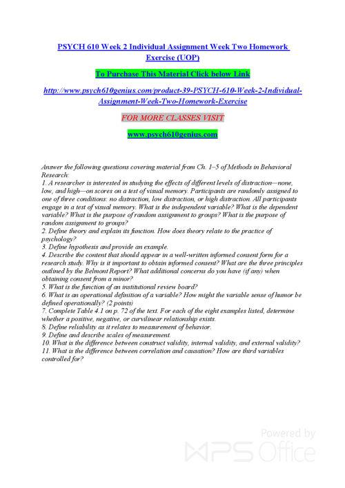 PSYCH 610 GENIUS Entire course /psych610genius.com