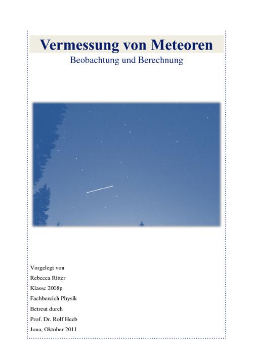Vermessung von Meteoren