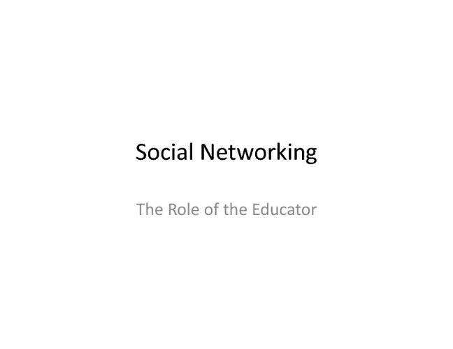 Social Networking for Teachers