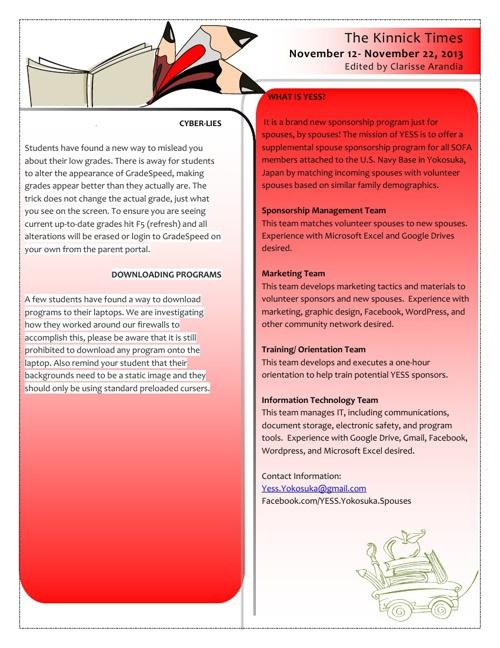 KHS Parent Newsletter - Nov 2013