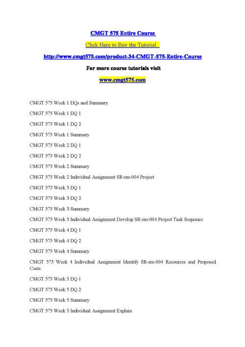 CMGT 575 Entire Course
