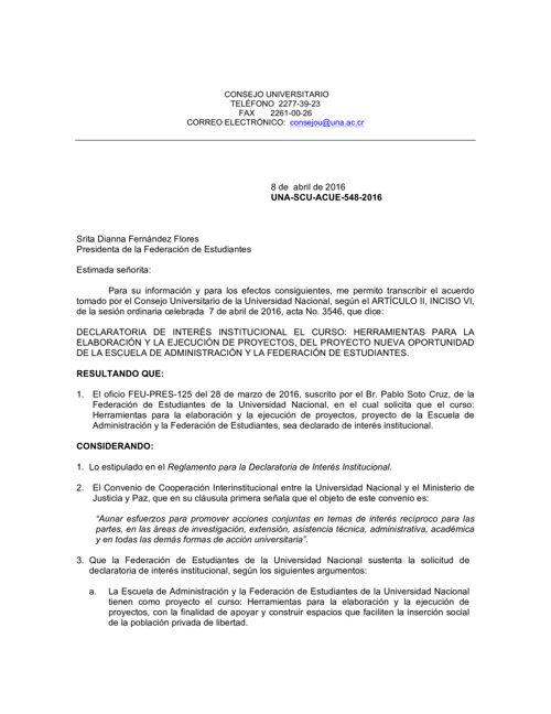 DECLARATORIA DE INTERÉS INSTITUCIONAL EL CURSO