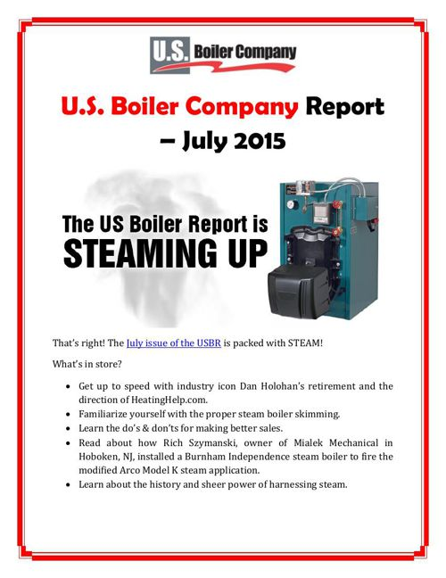 U.S. Boiler Company Report – July 2015