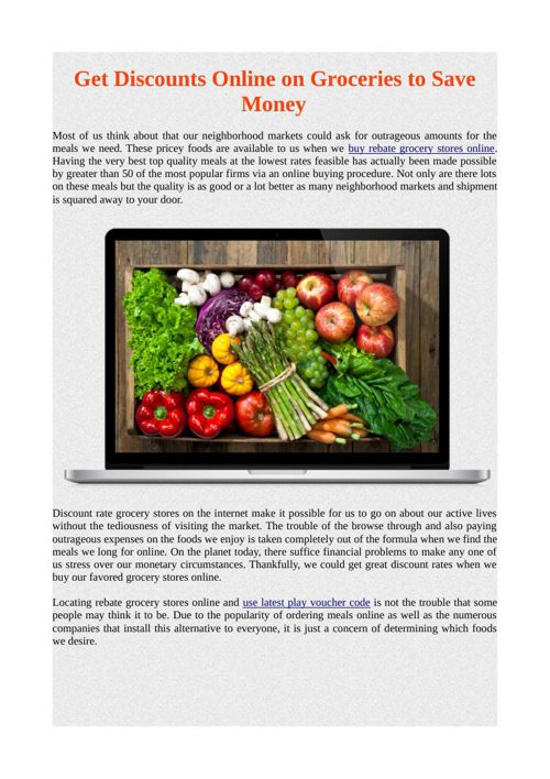 Get Discounts Online on Groceries to Save Money
