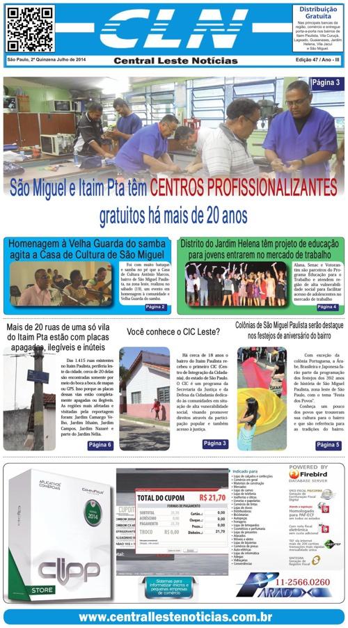 Edição 047 Julho/2014 - Jornal CLN - Central Leste Noticias