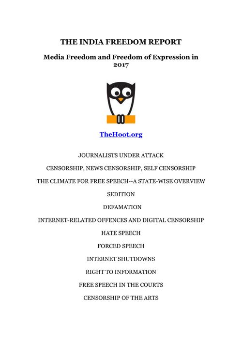 THE INDIA FREEDOM REPORT