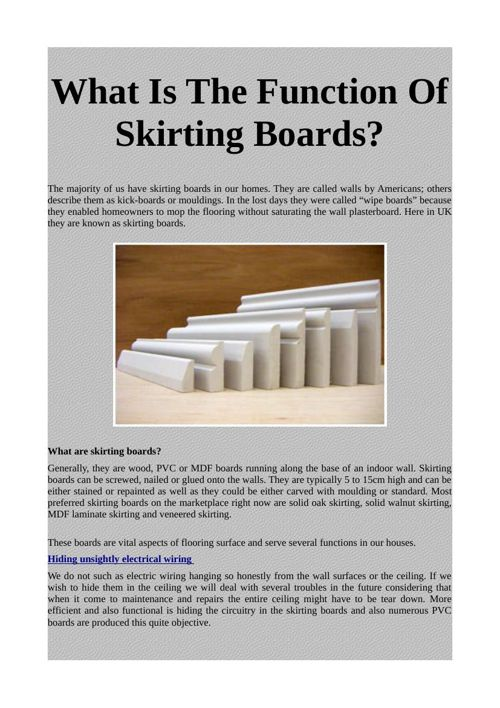 What Is The Function Of Skirting Boards