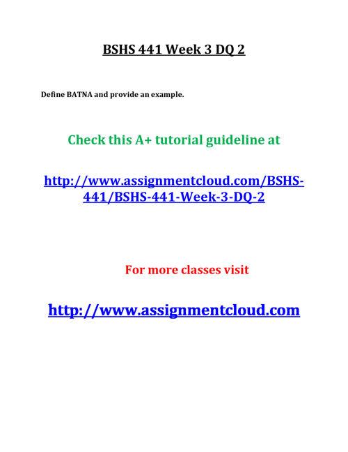 BSHS 441 Week 3 DQ 2