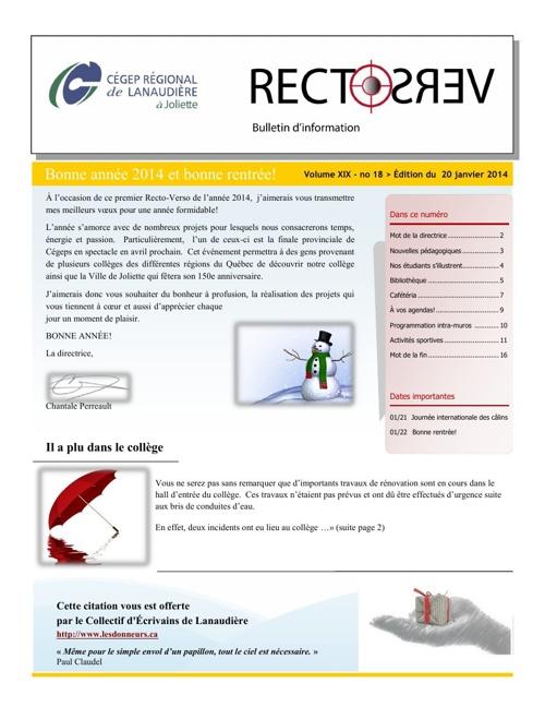 RV - Edition du 20 janvier 2014