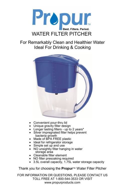 Propur Water Filter Pitcher Instructions v93013