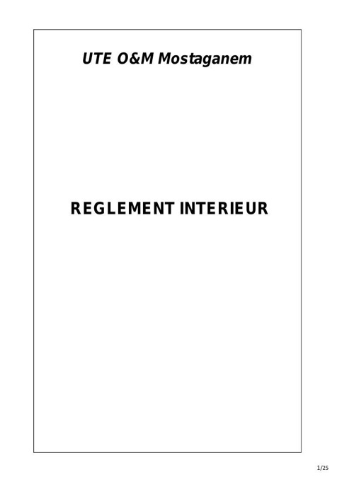 Règlement intérieur en francais