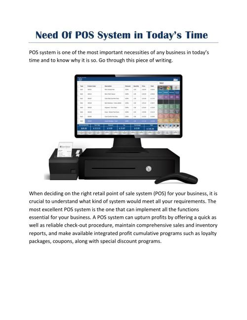 Need Of POS System in Todays Time