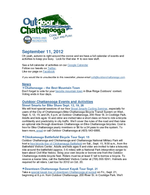 Outdoor Chattanooga News and Events Sept. 11, 2012