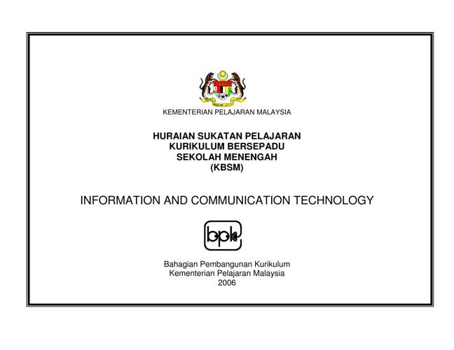 Sukatan Pelajaran ICT (Bahasa Malaysia)