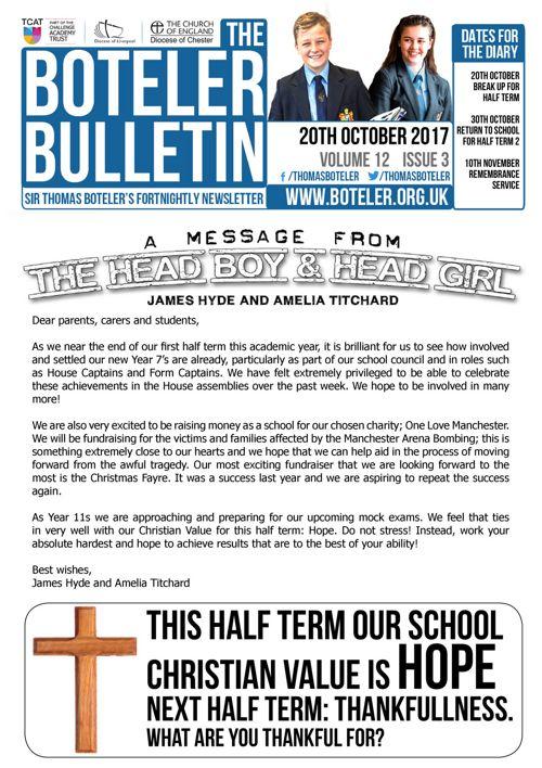 Boteler Bulletin 20th October 2017